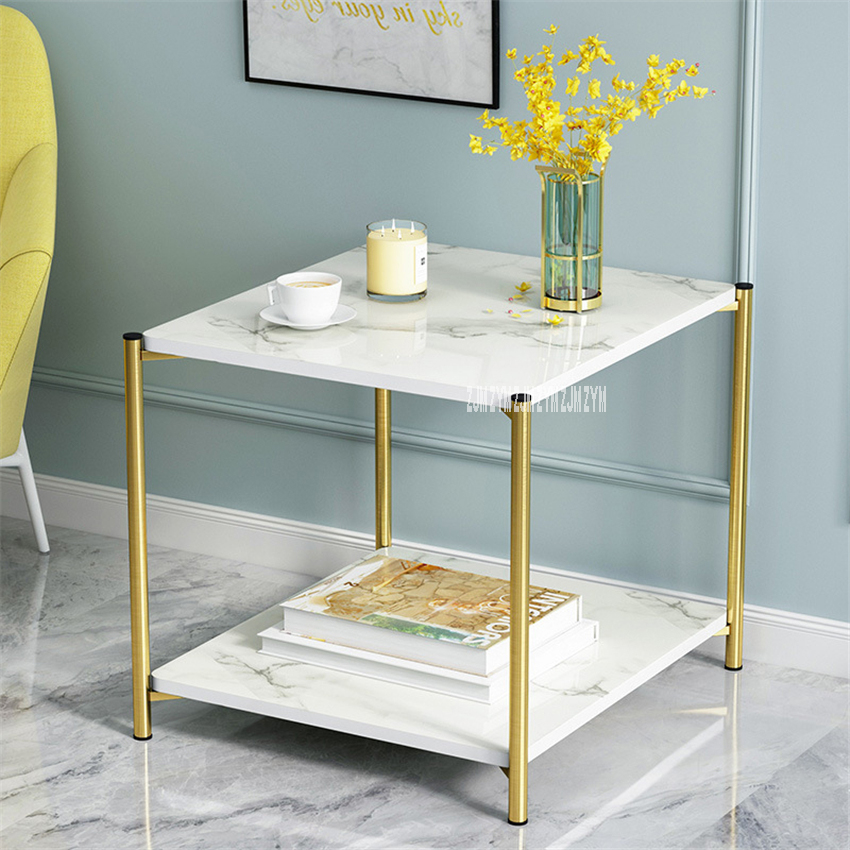 H88 Small Round Lron Tea Table Simple Modern Creative Double Layer Sofa Side Table Living Room Small Storage Square Coffee Table