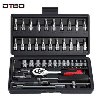 DTBD Car Repair Tool Combination Set  Ratchet Torque Wrench Socket Spanner Screwdriver Household Motorcycle Auto Repairing socket set ratchet combination bit car repair tool torque wrench handle stainless steel a of keys multifunction universal axk