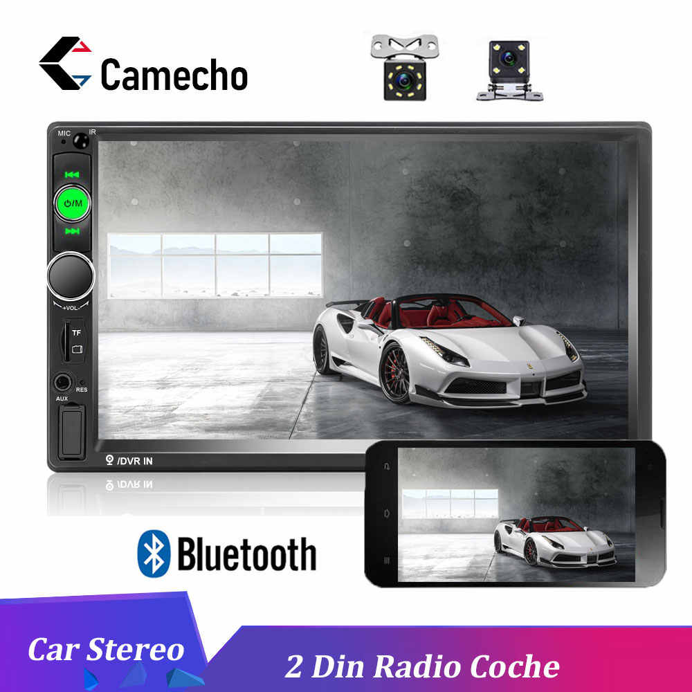 "Podofo 7 ""HD 2 Din Autoradio Android Mirrorlink 7010B Radio de coche Bluetooth reproductor Multimedia FM USB AUX TF auto Audio estéreo"
