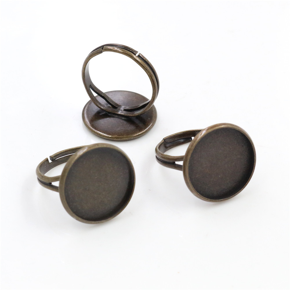 16mm 10pcs Antique Bronze Plated Brass Adjustable Ring Settings Blank/Base,Fit 16mm Glass Cabochons,Buttons;Ring Bezels -K6-26