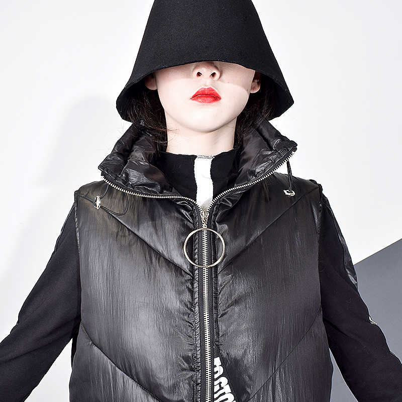 Xitao女性黒ノースリーブポケットルーズベスト 2019 新マンダリン襟ノースリーブカジュアルなベストの女性無地コートZLL2158