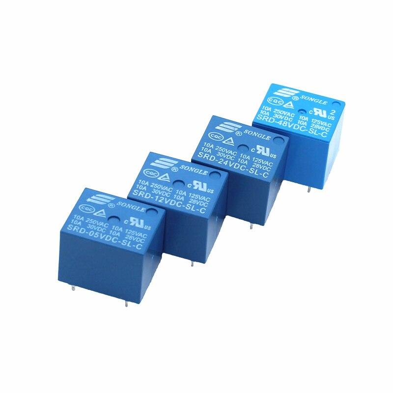 5PCS/lot Relays SRD-12VDC-SL-C SRD-24VDC-SL-C SRD-48VDC-SL-C 12V 24V 48V 10A 250VAC 5PIN T73