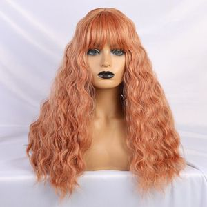 Image 4 - JONRENAU Long Water Wave Hair Women Fashion Wig with Bang  Heat Resistant Synthetic Wigs for African American