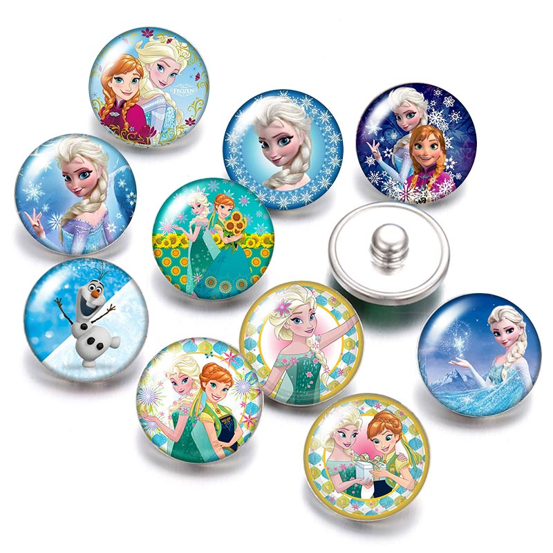 DB0098 Princesses Elsa Anna 18mm Snap Buttons 10pcs Mixed Round Photo Glass Cabochon Style For Snap Button Jewelry