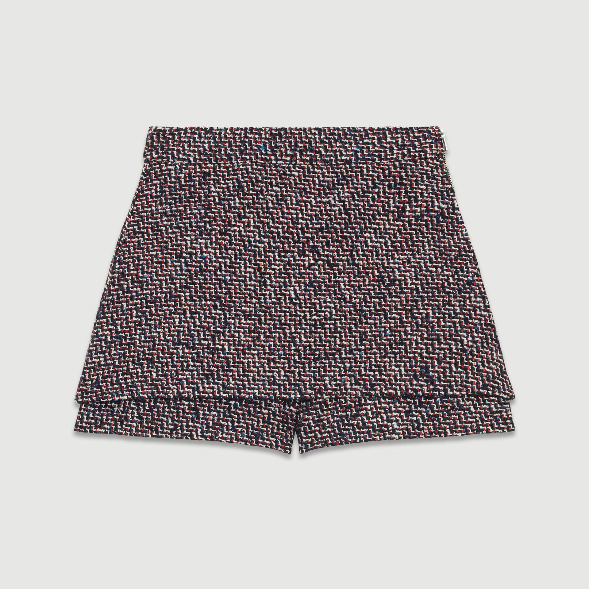 Tweed Women's Mini Skirt Shorts Female Casual Fake Two Pieces Skirts Straight Pants Autumn Winter