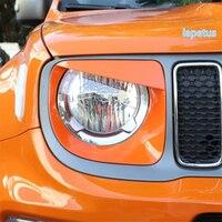 Lapetus frente cabeça luzes da lâmpada anel decoração quadro capa guarnição apto para jeep renegado 2019 2020 abs vermelho/fibra de carbono olhar Estilo de cromo     -