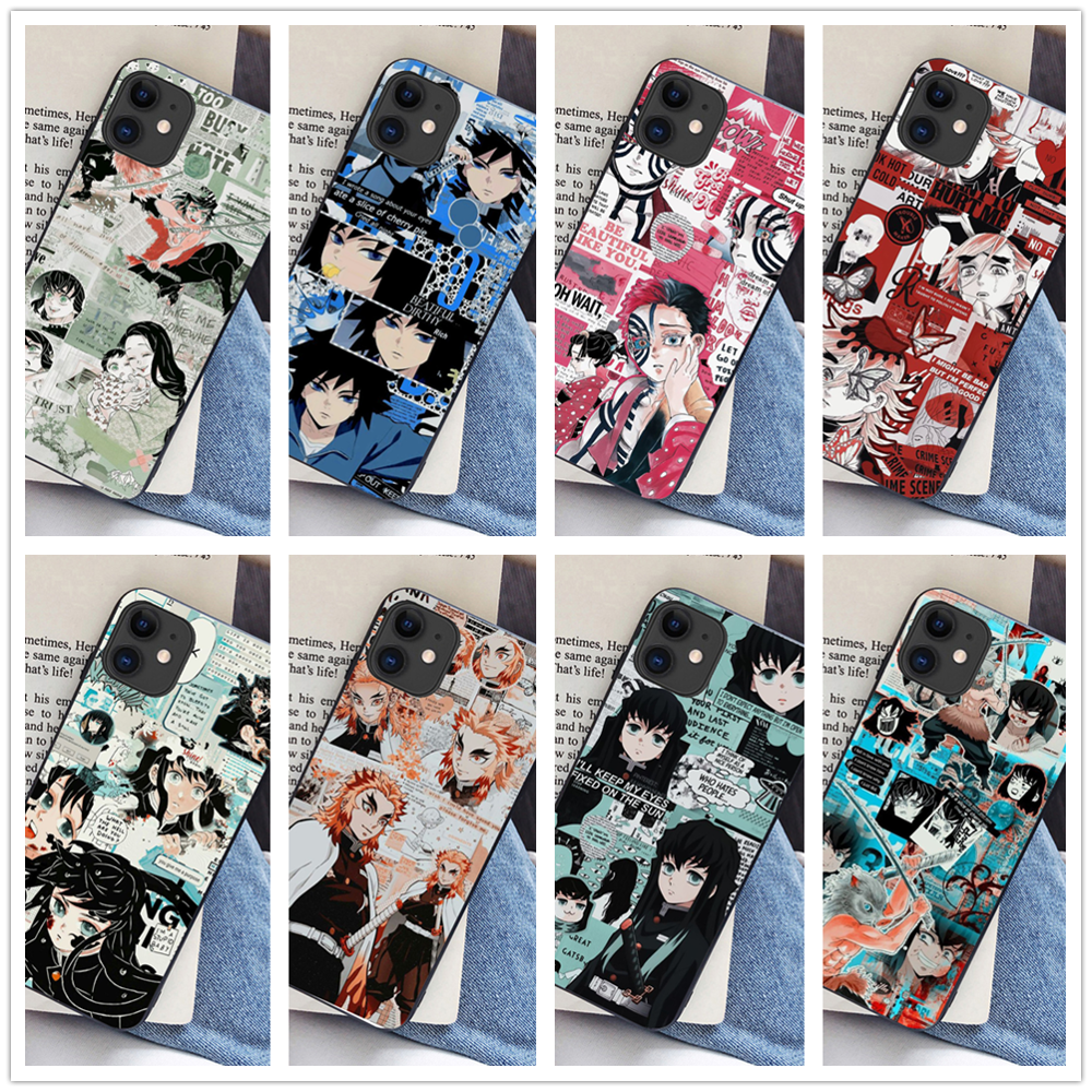 Demon Slayer Case for iPhone 11 pro 6 6s 7 8 plus X XR XS Max phone cases Newest Japan Anime Kimetsu no Yaiba black cover Coque