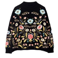 LANMREM 2020 Round Collar Flowers Embroidery Top Loose Korean autumn autumn  Long Sleeve Womans New Fashion Sweater FA50001