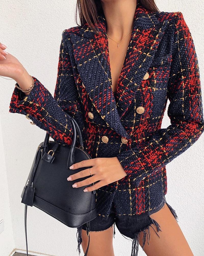 2020 Yesexy Autumn Winter Notched Neck Grid Breasted Button Women Blazer Jacket Long Sleeve High Sweet Women Coat MQ256