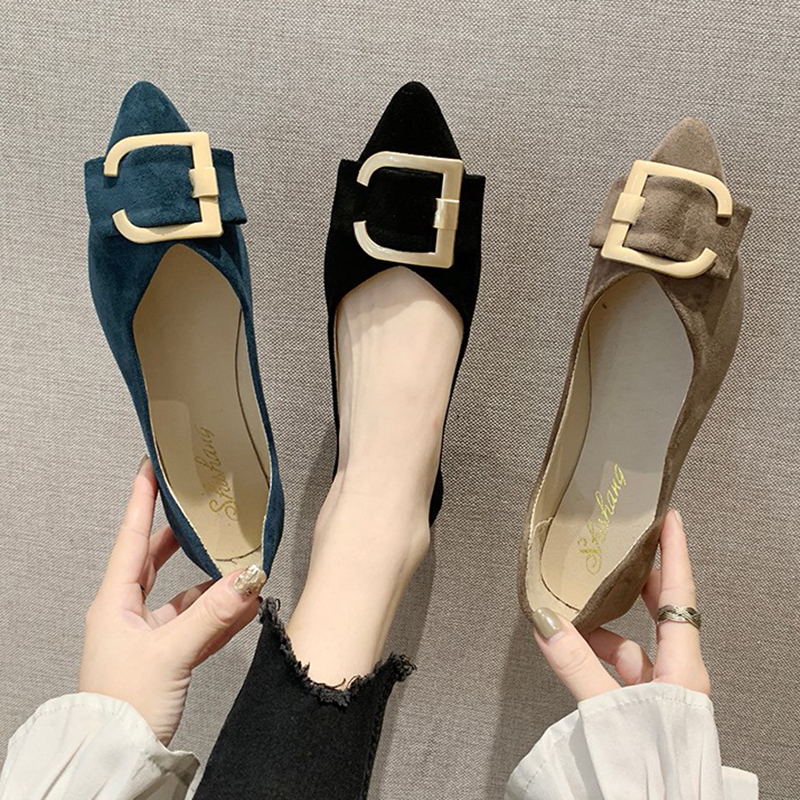 2020 Spring Women Flats Black Pointed Toe Ballet Flats Metal Boat Shoes Woman Flock Casual Shoes Female Loafers Blue Khaki