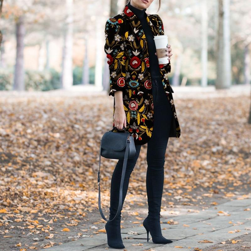 2020 New Female Autumn Flower Print Pattern Long Sleeve Vintage Casual Women Slim Coat Winter Lapel Fashion Clothing Ropa Mujer