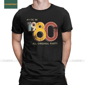 Men's Made In 1980 40th Birthday 40 Years Old School Retro 1980 T Shirt Anniversary Cotton Tops Short Sleeve Tee Unique T-Shirts(China)