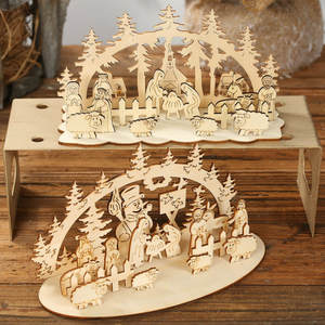 Wooden Toy Ornaments Toy-Decoration Christmas Puzzle Three-Dimensional Kids DIY Funny