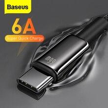 Baseus 6A USB סוג C כבל טעינה מהירה עבור Huawei Mate 40 P40 סמסונג 66W 5A SCP FCP USB C מהיר תשלום נתונים כבל עבור Xiaomi