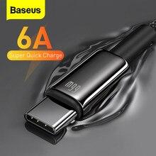 Baseus 6A USB Typ C Kabel Schnelle Lade Für Huawei Mate 40 P40 Samsung 66W 5A SCP FCP USB C Quick Charge Daten Kabel für Xiaomi