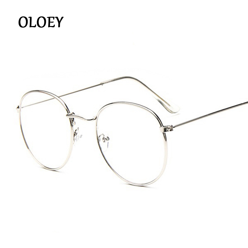 New Designer Round Glasses Women Optical Frames Metal Glasses Frame Clear Lens Eyeware Black Silver Gold Eye Glass