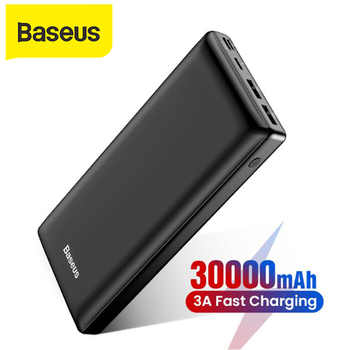 Batería Externa de 30000mah de gran capacidad Baseus para teléfono móvil carga rápida 3,0 tipo C cargador de teléfono USB para iPhone Samsung