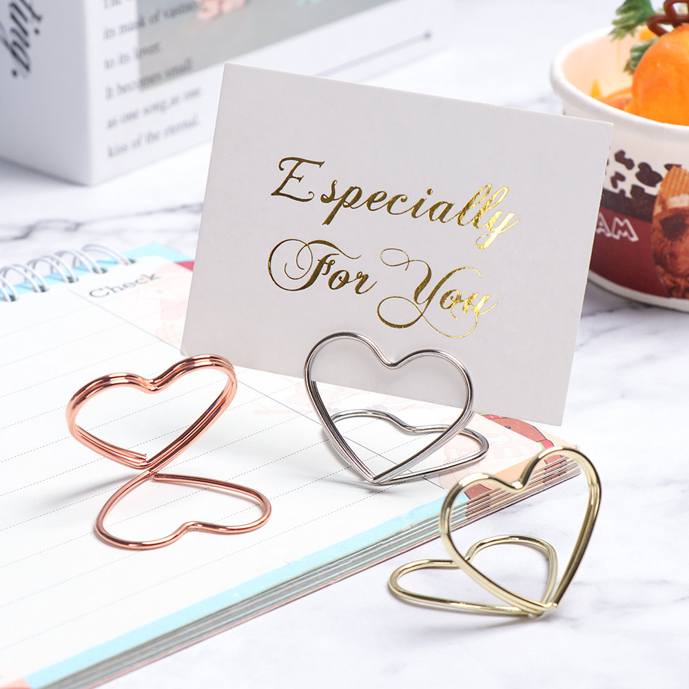 1PC Hot Sale Heart Shaped Place Memo Card Holder Lovely Wire Table Number Holder With Base For Wedding Party Party Decorations