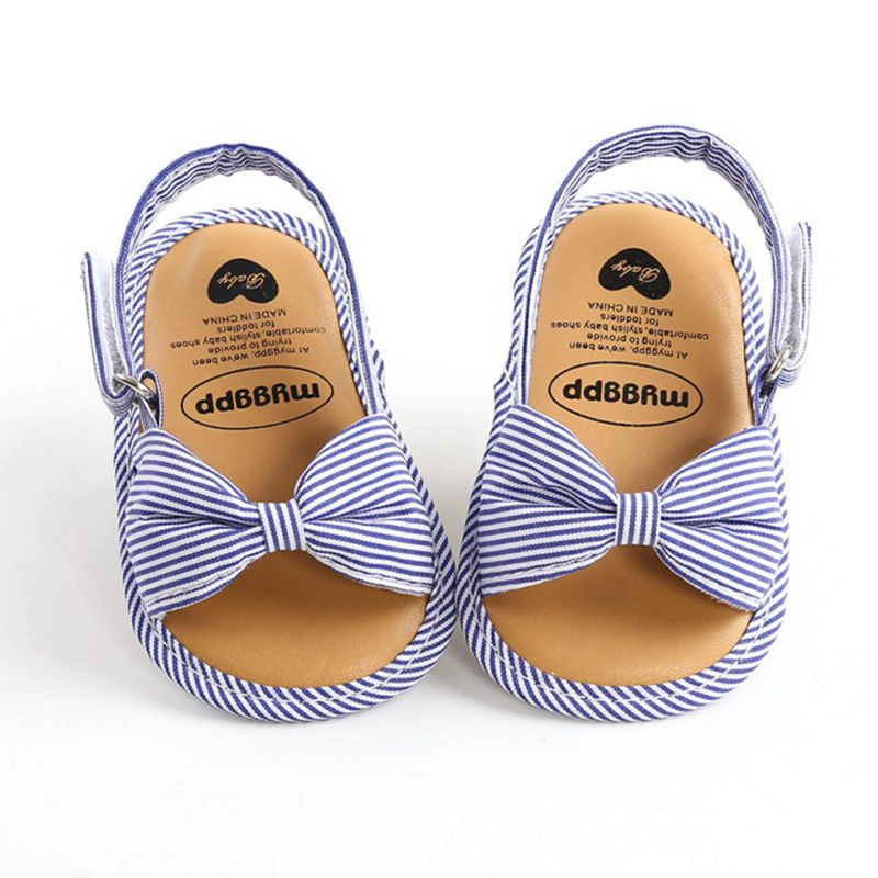 Newborn Toddler Baby Infant Shoes Cute Striped Kids Girl Summer Soft Sole Bow Sandal Shoes 0-18M