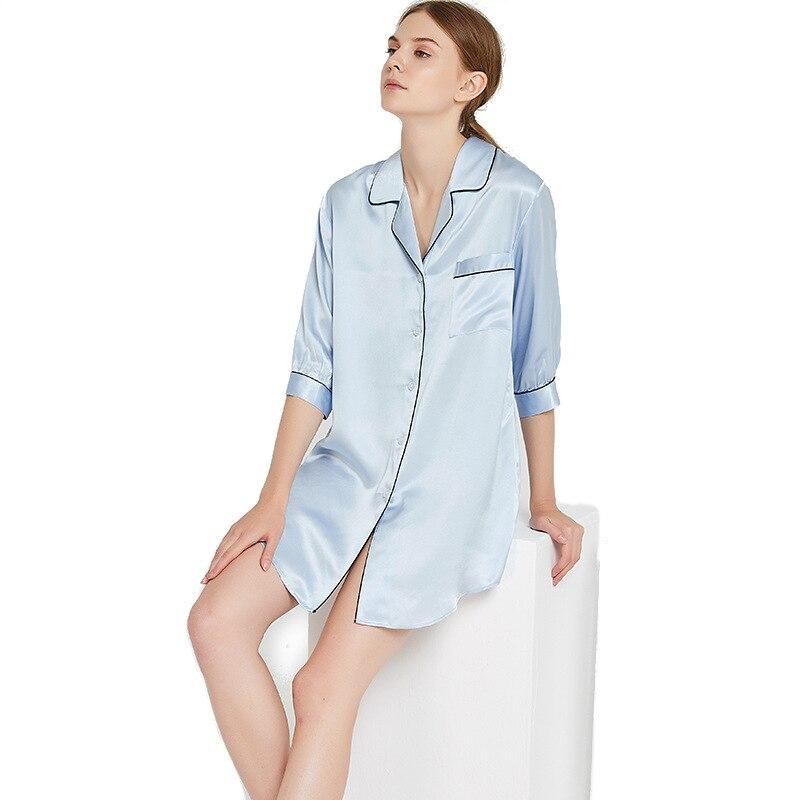 100% шелковая рубашка для сна 19 мм с длинными рукавами Блузка модные рубашки женские рубашки 100% шелк v образный вырез карман
