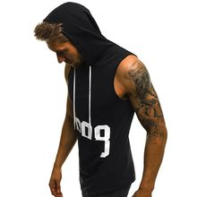 New Men Fitness Muscle Hole Sleeveless Hooded Bodybuilding Skin Tight-drying Tops Free Shipping(China)