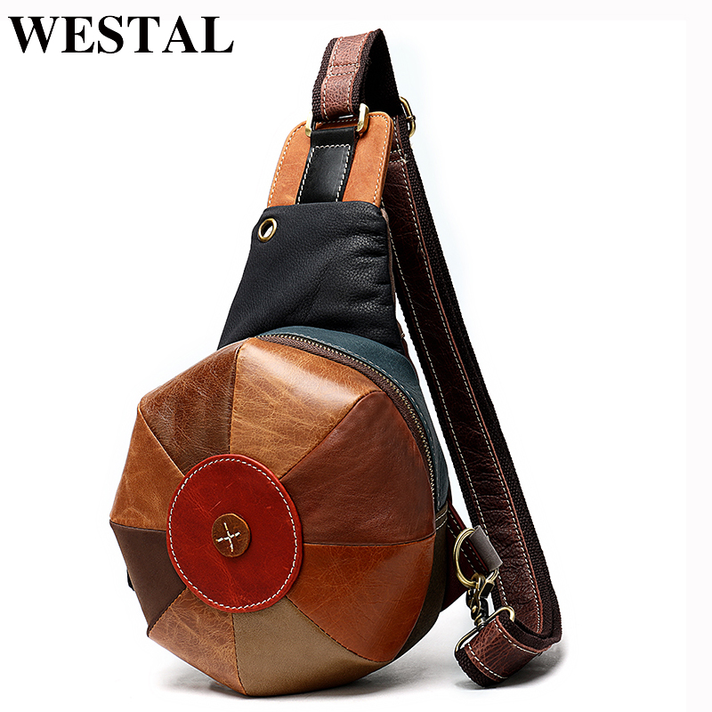 WESTAL Crossbody Bags For Women Chest/Sling Bags Women's Bag Genuine Leather Shoulder/Messenger Bag Patchwork Female Chest Pack