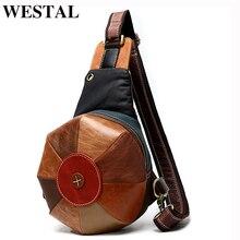 Westal crossbody bags para mulher peito/estilingue sacos bolsa de couro genuíno ombro/mensageiro saco retalhos feminino pacote de peito