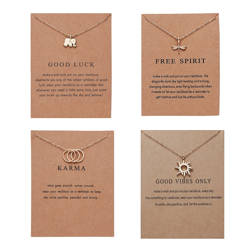 Ailodo Make a Wish Card Necklace Gold Color Sun Elephant Dragonfly Circle Pendant Necklace For Women Girls Fashion Jewelry LD241