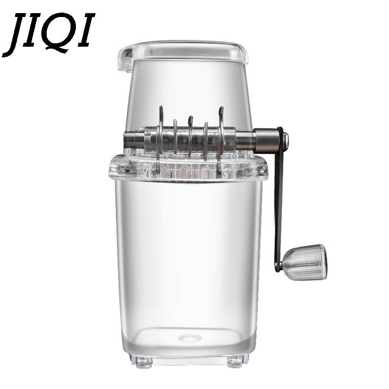 JIQI Ice Crusher Manual Shaver Ice Chopper Slushies Smoothies Crushing Tool Fried Ice Machine Transparent DIY Children Snack