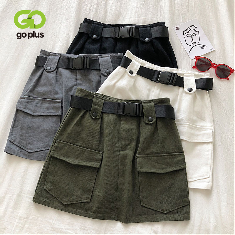 GOPLUS Summer Women's Skirt Vintage Black Korean Style A-Line High Waist Belt Pockets Mini Skirts Womens Cloth Ropa Mujer