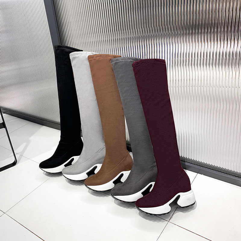 FEDONAS kış yeni kadın artı boyutu takozlar binici çizmeleri akın kadın diz yüksek çizmeler üzerinde seksi parti gece kulübü ayakkabı kadın