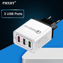 цена на USB Charger 3 USB Ports Phone Charge Cable Adapter For iphone Samsung Xiaomi LG Fast Charging Travel Portable Power Wall EU Plug