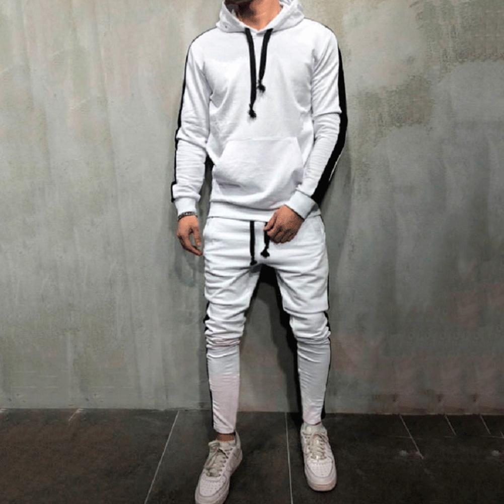 Winter 2Pcs Men Casual Color Block Hoodie Sweatshirt Drawstring Pants Sports Tracksuit