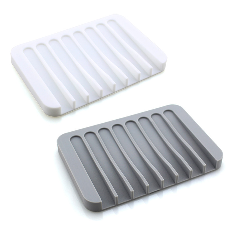2Pcs Soap Saver Tray Case Dish Holder Stand Shower Silicone Rubber Drainer Dishes For Bar Soap Sponge Scrubber Bathroom Kitchen