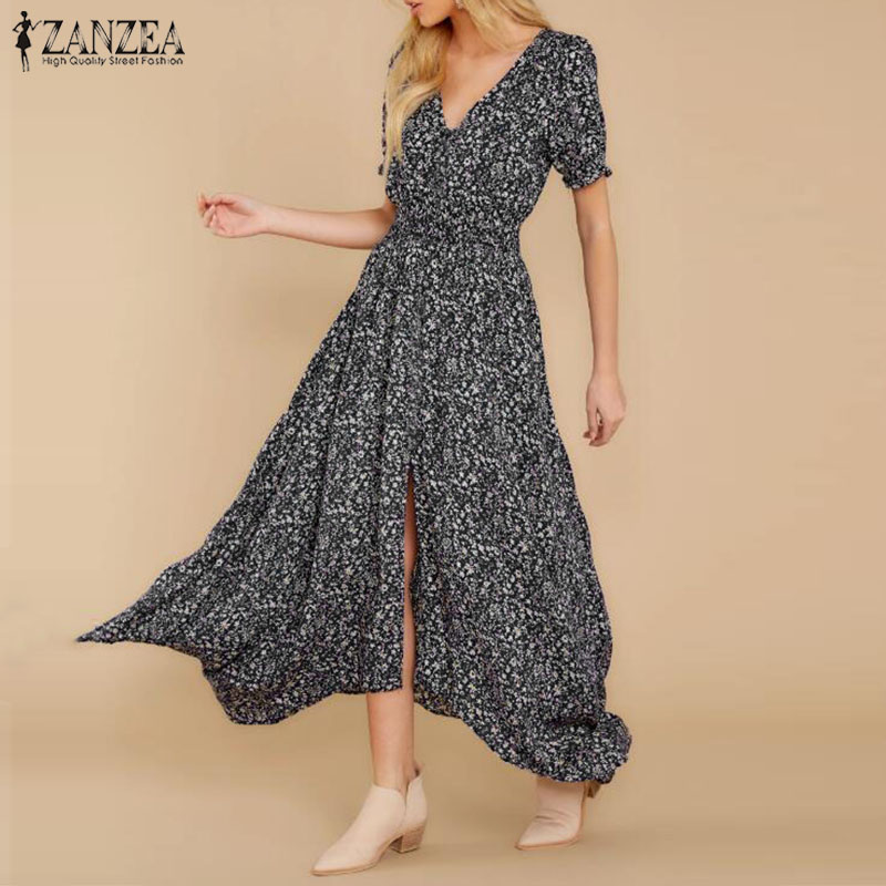 2020 ZANZEA Vintage Women Dress Summer Floral Printed Sundress Short Sleeve Party V Neck Split Bohemian Beach Vestido Female 5XL