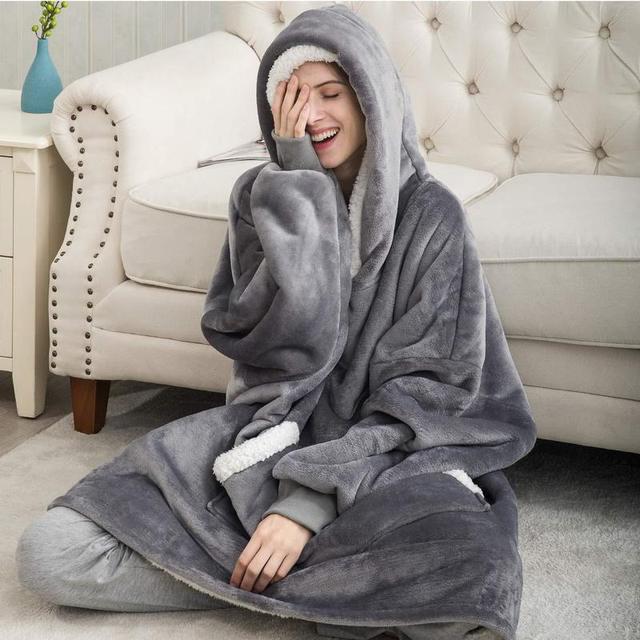 Blanket with Sleeves Women Oversized Hoodie Fleece Warm Hoodies Sweatshirts Giant TV Blanket Women Hoody Robe Casaco Feminino 3