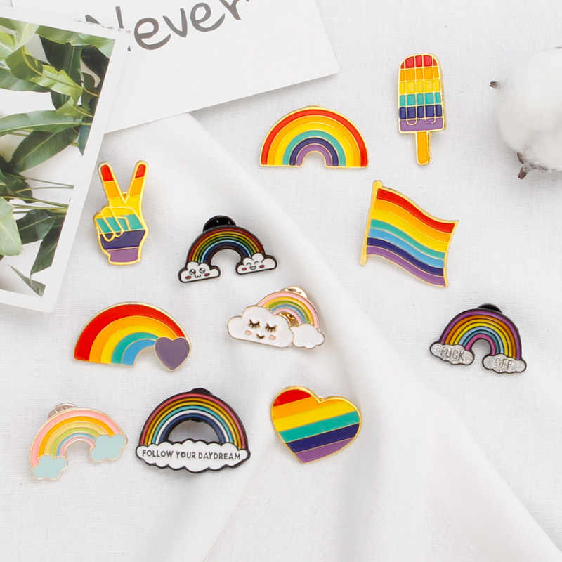 Colorful Rainbow Pins Brooches For Women Cartoon Creative Rainbow Metal Brooch Cloud Pins Denim Hat Badge Collar Rainbow Jewelry