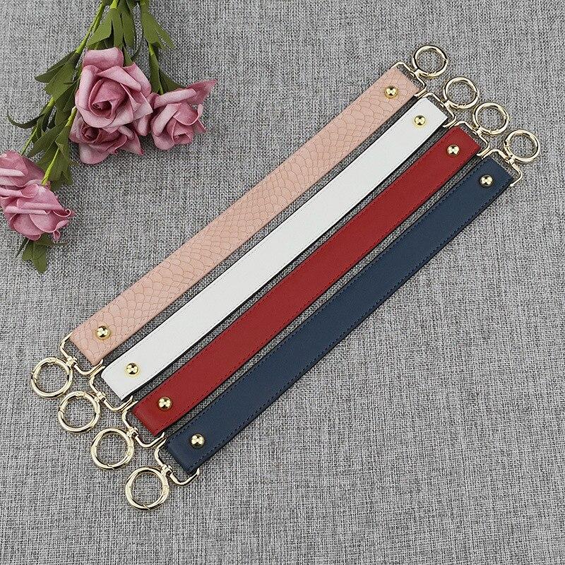 40cm DIY Replacement Bag Strap Colorful Women Handbags Strap Handle Short Belt Accessories PU Leather Shoulder Bags Belts Black