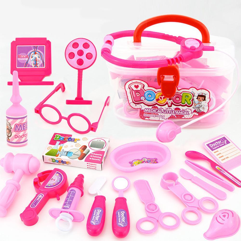 20PCS Children Doctor Pretend Game Toys Injection Stethoscope Medical Kit Medicine Box