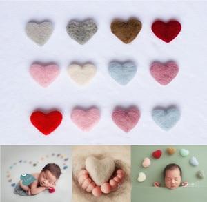 Newborn Photography Props Heart Wool DIY Photography Props Accessories Photography Baby Studio Felt Love Heart 5pcs/set