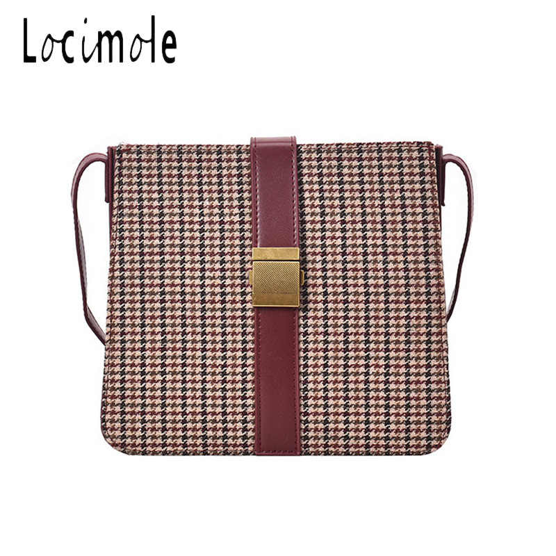 Locimole Vintage Plaid Women Bags Fashion Large Capacity Korean Style Shoulder Bag Fashion Square Crossbody Bag BIA386 PM49