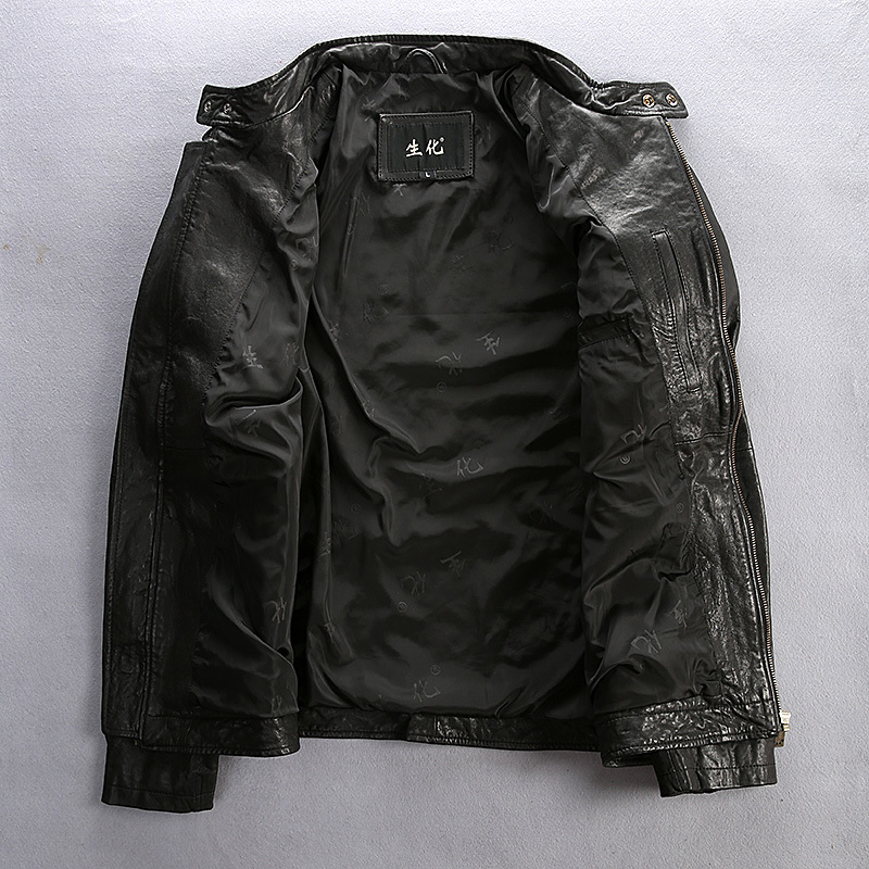 New Arrival Slim Fitted Motorcycle Jacket Epaulet Pockets Vegetable Tanned Sheepskin Casual Leather Coat Men