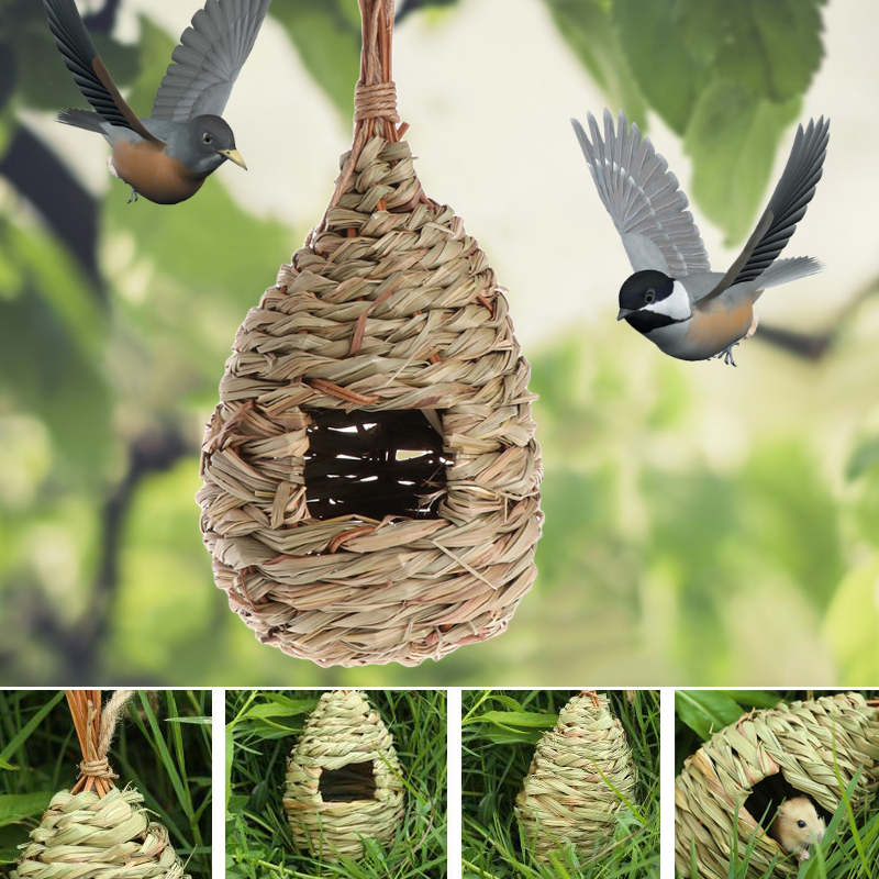 Natural Grass Bird Nest Birdhouse Bird Cage Home Yard Decoration Small Bird House Cage Bird Egg Container Breeding Nest