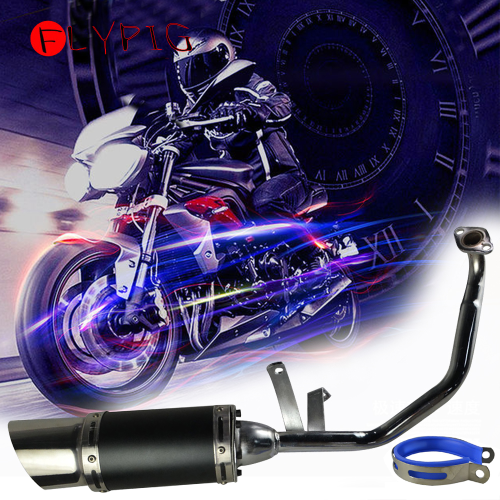 Motorcycle <font><b>Exhaust</b></font> Heat <font><b>Exhaust</b></font> Muffler Scooter Short Performance <font><b>Exhaust</b></font> <font><b>System</b></font> Black For ATV GY6 <font><b>150cc</b></font> 4 Stroke Scooter image