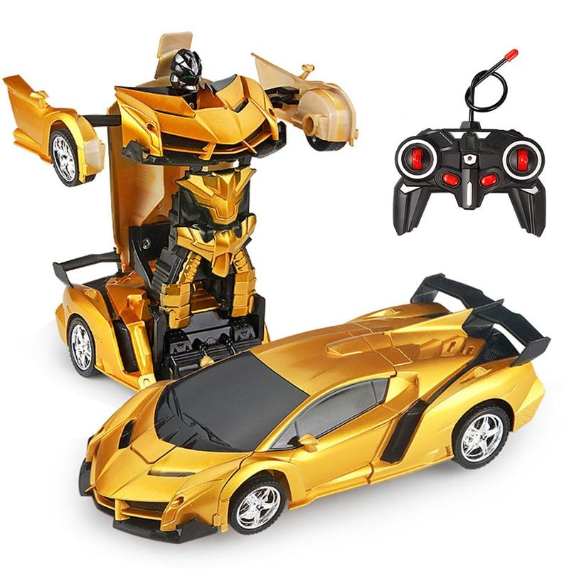 Робот-трансформер на радиоуправлении, Спортивная модель автомобиля, игрушечные роботы с дистанционным управлением, крутые машинки-трансфо...