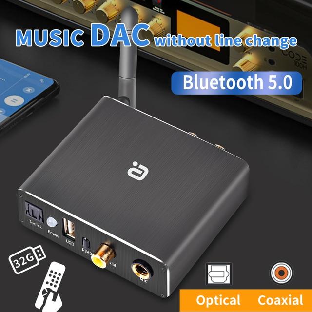 Adaptador de descodificador DAC Bluetooth 5,0, receptor de Audio, reproductor de disco en U, adaptador de micrófono KTV Coaxial óptico a Convertidor analógico