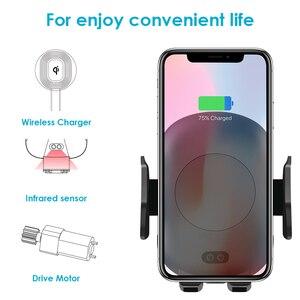 Image 2 - 10ワットチーワイヤレス車の充電器電話ホルダー自動クランプ急速充電赤外線センサーiphone x xs xr最大8サムスンS8 S9 S10