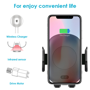 Image 2 - 10W Qi Wireless Car Charger Phone Holder Auto Clamping Fast Charging Infrared Sensor  for iPhone X XS XR Max 8 Samsung S8 S9 S10