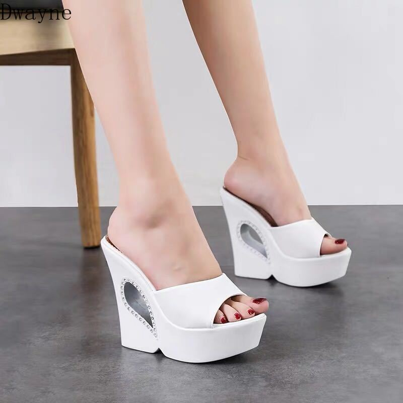 Wedge sandals and slippers female summer 2019 new fashion wear sexy word drag black
