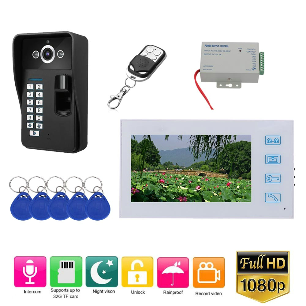 7 Inch Record Wired Video Door Phone Doorbell Intercom System With Fingerprint RFID AHD 1080P Camera Door Access Control System